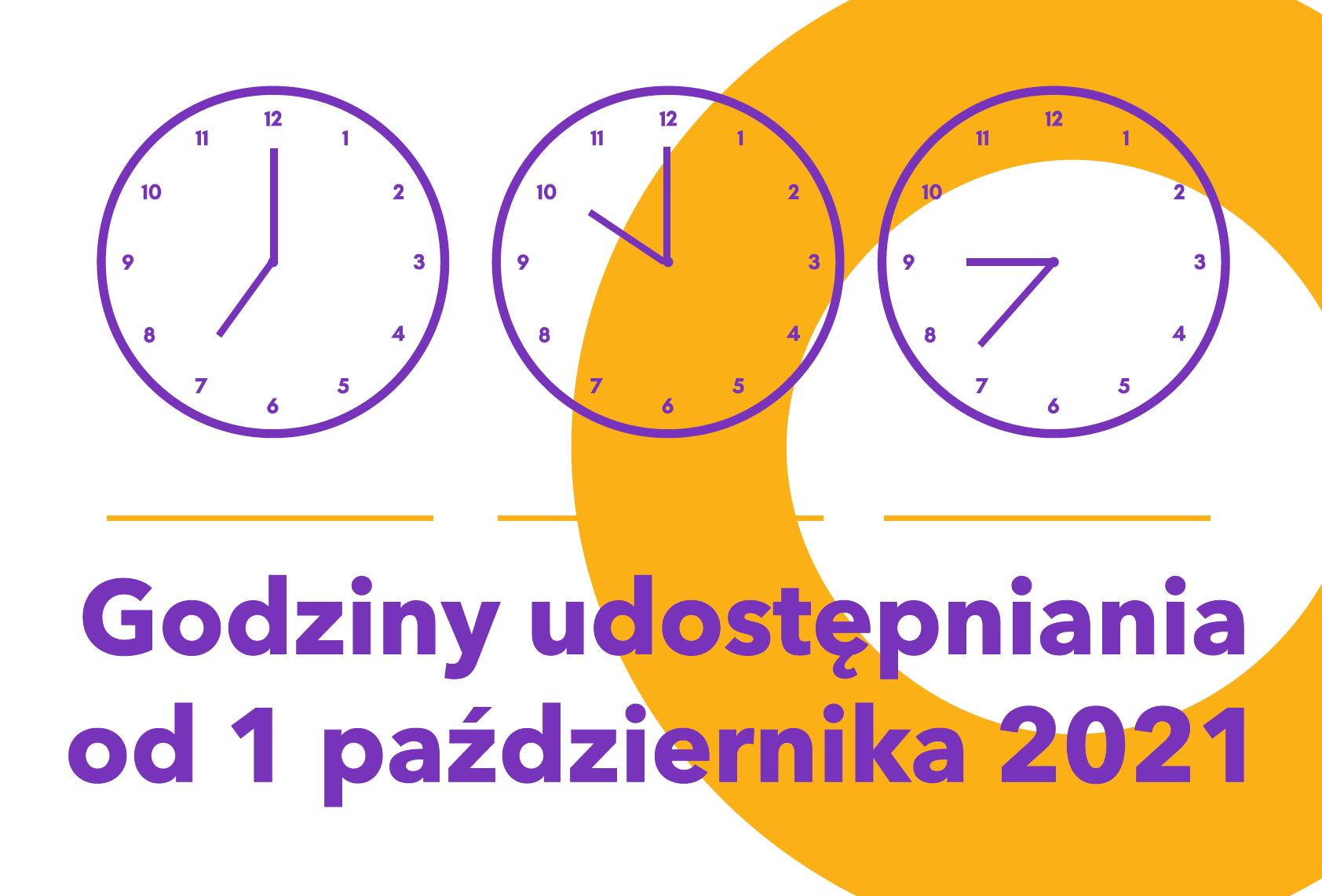 Baner Godziny udostępniania od 1 października 2021